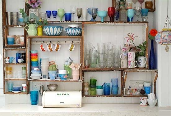 Decoracion Vintage Ideas ~ por fim esta montagem feita de caixotes de madeira reciclados que