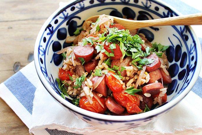 Arroz com tomates, linguiça defumada e vinho_F&F