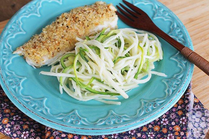 Peixe Assado Crocante com spaghetti vegano_F&F