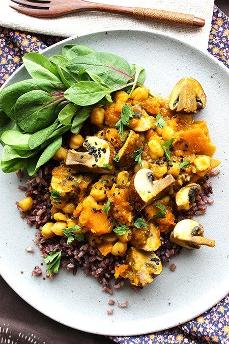 Curry Vegetariano de abóbora, grão-de-bico e cogumelo1_F&F