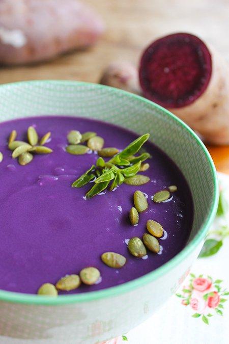 Sopa cremosa de batata-doce roxa3